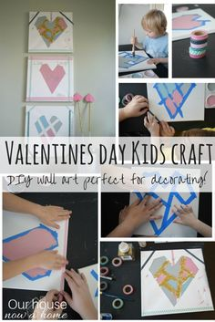 Simple DIY wall art perfect to decorate the home for Valentines day! This kids craft is fun, easy, low cost, and is a special way to celebrate this holiday of love! DIY wall art and decor at its finest, made with love and tiny hands. Can be used as decor or a gift for someone special!