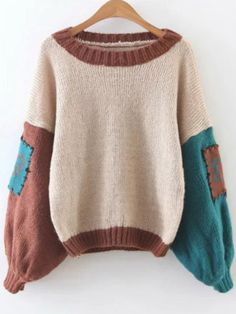 Color Block Elbow Patch Lantern Sleeve Sweater — € ---------color: Multicolor size: one-size Stylish Hoodies, White Lace Bralette, Loose Sweater, Cardigan Sweaters, Long Cardigan, Trends, Collar Styles, Pullover, Color Block Sweater