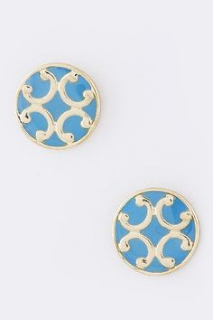 1/2 inch button earring in turquoise.