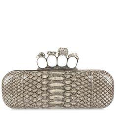 Hirshleifers - Alexander McQueen - Python Knuckle Box Clutch  (Light Grey), $2,495.00 (http://www.hirshleifers.com/handbags/evening/alexander-mcqueen-python-knuckle-box-clutch-light-grey/)