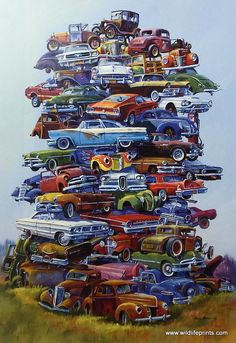 This Dale Klee car print gives new meaning to JUNKPILE. These old Fords have really piled up into a tall time machine of Ford history. Mustang, Model T, Galaxy Carros Lamborghini, Soichiro Honda, Automobile, F12 Berlinetta, Ford Classic Cars, Classic Chevrolet, Old Fords, Transporter, Art Moderne