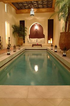 Indoor Swimming Pool Ideas - You want to build a Indoor swimming pool? Here are some Indoor Swimming Pool designs and ideas for you. Swimming Pool Lights, Luxury Swimming Pools, Luxury Pools, Indoor Swimming Pools, Dream Pools, Swimming Pool Designs, Lap Swimming, Lap Pools, Backyard Pools