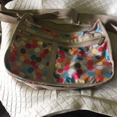 Lesportsac large purse In new condition with cute polka dot print. Lots of pockets so you can stay organized LeSportsac Bags
