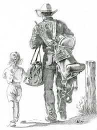 cowboy with daughter