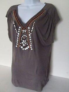 C KEER Anthropologie Bohemian Tunic L Embellished V-Neck Rayon India Open Back