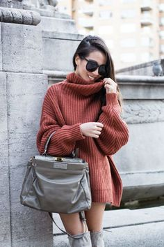 Sweater Weather :: Off-shoulder knit & Sweater dress