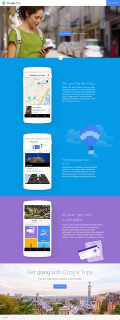 Google Trips Planning And Organizing, Planning Your Day, Google Trips, Best Landing Page Design, Mobile Web Design, Travel Info, Outdoor Travel, Design Inspiration, Design Ideas