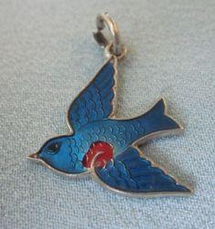 Vintage Wells Sterling Enamel Blue Bird Charm Pendant
