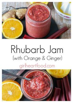 This small batch Rhubarb Jam recipe has no pectin is not too sweet and comes together in about 45 minutes in one pot. Its a little twist on a classic with the addition of freshly grated ginger and orange juice. Delicious on that morning toast! Rhubarb Recipes, Fruit Recipes, Brunch Recipes, Summer Recipes, Breakfast Recipes, Dessert Recipes, Desserts, Juice Recipes, Recipes Dinner