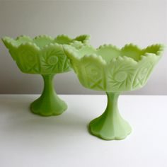 Vintage Fenton Glass Compotes Set of Two - Lime Green Satin Glass in Hobstar & Pinwheel Pattern