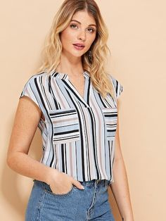 Striped Pocket V Neck Blouse V Neck Blouse, Blouse Designs, Blouses For Women, Fashion News, Casual Outfits, Mesh, Style, Womens Hoodie, Clothing Templates