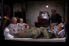 "Grandma Josephine knitting in bed in ""Willie Wonka and the Chocolate Factory"" (1971), played by German actress, Franziska Liebing, with Grandpa Joe, Jack Albertson"