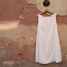 may dress linen lino lina leinen pure natural comfortably eco friendly white