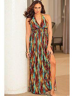 b. belle Rio Plus Size Halter Maxi Dress