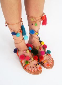 Tie up Leather Sandals, Pom Pom Sandals, Colorful Sandals, Greek Sandals ''Juicy Lucy''