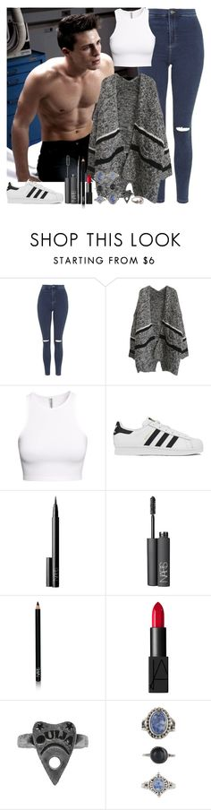 """Sans titre #553"" by assia-mouaqk ❤ liked on Polyvore featuring Topshop, H&M, adidas, NARS Cosmetics and Lovisa"
