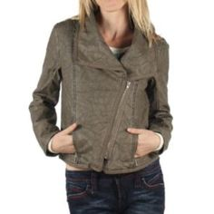 """Jack by BB Dakota faux leather jacket Faux crinkle leather moto jacket in taupe. Measures 19"""". Waist length. Excellent condition. BB Dakota Jackets & Coats"""