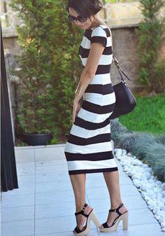 White-Black Striped Print Backless Short Sleeve Slim Midi Dress - Midi Dresses - Dresses