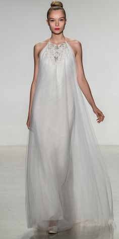 Tulle jewel neck trapeze gown with low back and bias cut silk charmeuse slip, Amsale