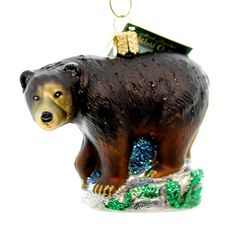 Old World Christmas Ornaments Black Bear Glass Blown Ornaments for Christmas Tree 12207