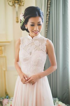 Intimate East-Meets-West Boston Wedding, Bride's Blush Lace Tea Ceremony Dress | Brides.com | Photo: Katch Studios