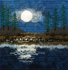 Mixes of stitching mediums makes this a fascinating study for me///Kirsten's Fabric Art Postcard - Moonlight Fabric Cards, Fabric Postcards, Small Quilts, Mini Quilts, Landscape Art Quilts, Textiles, Thread Painting, Sewing Art, Felt Art