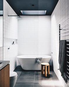 The Prahran House by Rob Kennon Architects transforms an original Edwardian boarding house into a contemporary family home that explores […] Zen Bathroom, Family Bathroom, Small Bathroom, Bathroom Ideas, Neutral Bathroom, Skylight Bathroom, Bathroom Mold, Bathroom Showers, Bathroom Photos