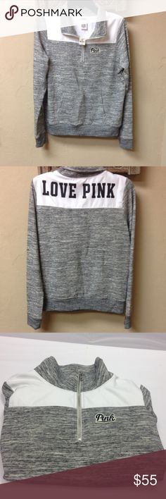 "SOLD‼️Victoria's Secret PINK Sweatshirt Half Zip Authentic new with tag Victoria's Secret PINK sweatshirt with half zipper. ""Love Pink""  on the back. Size Small. Marled Gray. Smoke Free and Pet Free Environment. PINK Victoria's Secret Tops Sweatshirts & Hoodies"