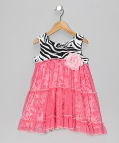 Take a look at this Pink Zebra Overlay Flower Dress - Toddler & Girls by Haute Baby on #zulily today!