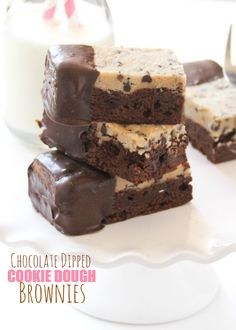Chocolate Dipped Cookie Dough Brownies (cookie dough is eggless, so it's safe). These are pretty incredible!! Chocolate + Cookie Dough? Yes Please!