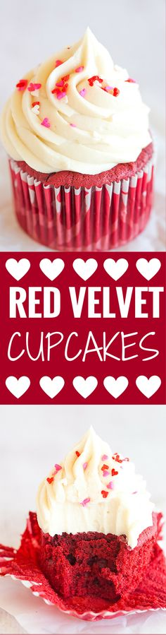 The BEST red velvet cupcakes – a gorgeous red color, moist and fluffy, and topped with luscious cream cheese frosting.