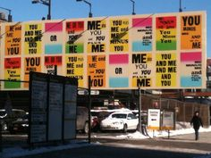 Allen Ruppersberg: You & Me, billboard next to the High Line Park, 2013, photo by Mónica de la Torre.
