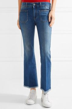 Stella McCartney - Cropped Frayed Low-rise Flared Jeans - Mid denim - 27