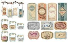 Beautiful vintage style pantry labels http://freethediva.blogspot.com/p/freebies.html