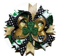 St Patrick's Day Over The Top 4 Leaf Clover Holiday Black Gold Green Boutique Hair BOW or HEADBAND U Choose infant, baby girl, boutique clip