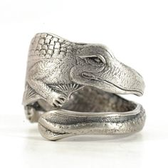 Crocodile Ring, Spoon Ring Sterling Silver, Animal Ring, Reptile Jewelry, Alligator Ring, Florida Spoon Ring, Adjustable Ring Size (5721) by Spoonier on Etsy