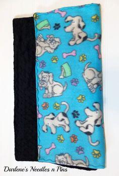 Fleece Pet Blanket with Black Minky by DarlenesNeedlesnPins
