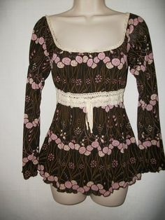ARDEN B Size S Brown Pink Peasant Top Crochet Waist Floral