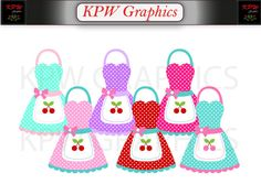 Colorful Kitchen Aprons Clipart Set in a PNG format. Personal & Small Commercial use