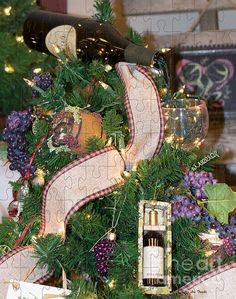 """This a photo from a tree decoration done with wine theme. Being that we often cheer in the New Year with a glass, I felt it was appropriate to call this photograph : Happy New Year"""" Oh yes, I turned into a puzzle while I was having my glass of wine."""
