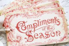 Christmas Gift Tags Red Vintage Style Compliments of the Season Antique Typography Label $4.95