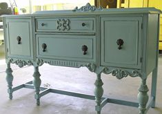 aqua-shabby-chic-painted-antique buffet