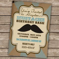 Printable Birthday Party Invitation - Vintage Mustache Bash Theme (Digital File). $6.00, via Etsy.