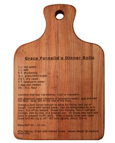 "Laser ""your Favorite"" Recipe On A Maple Cutting Board"