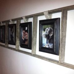 Use an old ladder to frame pictures