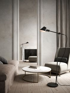 Stay floor lamp is ideal as a reading lamp next to the sofa or your favorite chair, as the arm and head of the lamp can be adjusted according to your wishes and needs. Likewise, the silky matte grey metal contributes beautifully to a modern and minimalistic expression. #Living Room #Interior Design #Inspiration #Décor Ideas #Nordic #Danish Design #Scandinavian #Modern #Minimalist #Simplistic #Floor Lamp #Lighting Swing Arm Floor Lamp, Black Floor Lamp, Black Lamps, Living Room Interior, Light Decorations, Designer, Flooring, Interior Design, Led