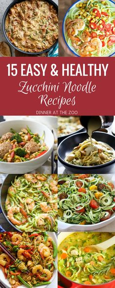 15 Easy & Healthy Zoodle (Zucchini Noodle) Recipes - Dinner at the Zoo Healthy Noodle Recipes, Zucchini Noodle Recipes, Zoodle Recipes, Spiralizer Recipes, Vegetarian Recipes, Vegetarian Tapas, Healthy Zucchini, Delicious Recipes, Healthy Cooking