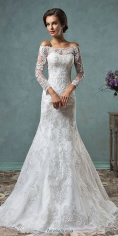 Simple, classic, beautiful - as long as you have the height to carry off the style.   Romantic Off The Shoulder Wedding Dresses ❤ See more: http://www.weddingforward.com/off-the-shoulder-wedding-dresses/ #weddings