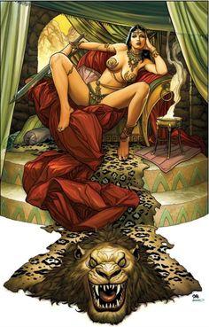 Fantasy Art Women, Dark Fantasy Art, Fantasy Girl, Frank Cho, Pulp Fiction Art, Pulp Art, Bloodborne Art, Comic Art Girls, Princess Art
