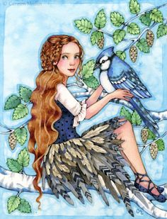 A Blue Jay Day bird fairy watercolor art by Carmen Medlin. $165